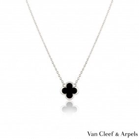 Van Cleef & Arpels White Gold Onyx Pure Alhambra Pendant